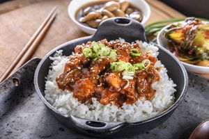 Chopped Pork Meat Cooked with Red Chili Paste, Gochujang Sauce, over Rice