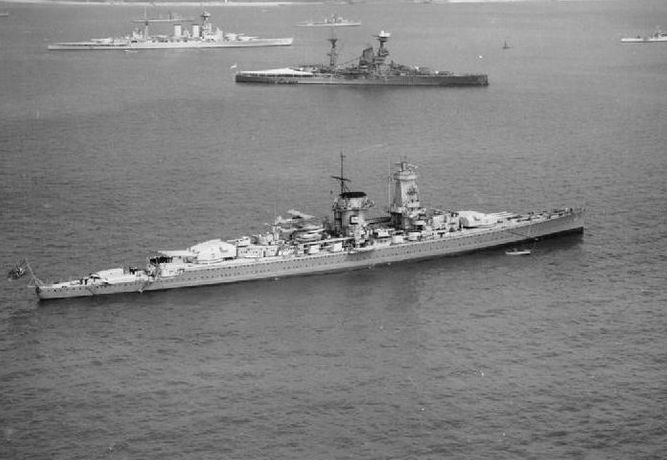 Pocket battleship Admiral Graf Spee at anchor with British warships in the background.