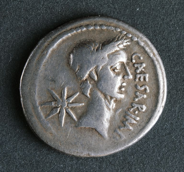 Silver denarius of Julius Caesar at time of First Triumvirate, Recto, Roman coins, 1st century BC