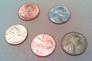 Pennies with their metallic colors changed