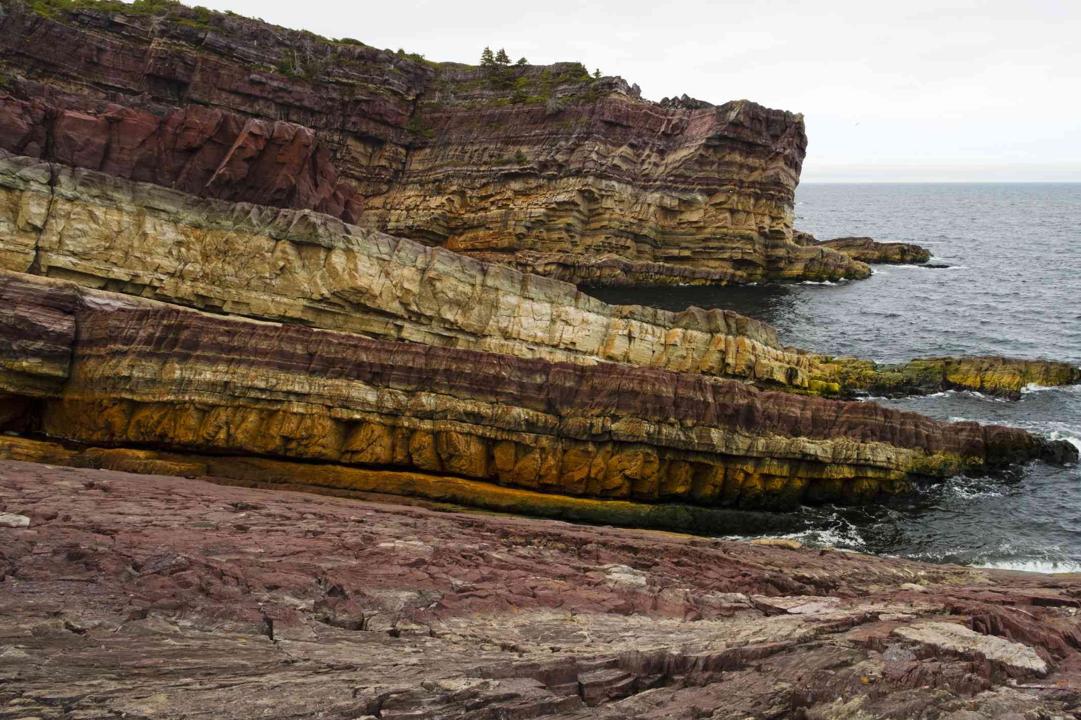 Colorful shale in Kings Cove, Newfoundland