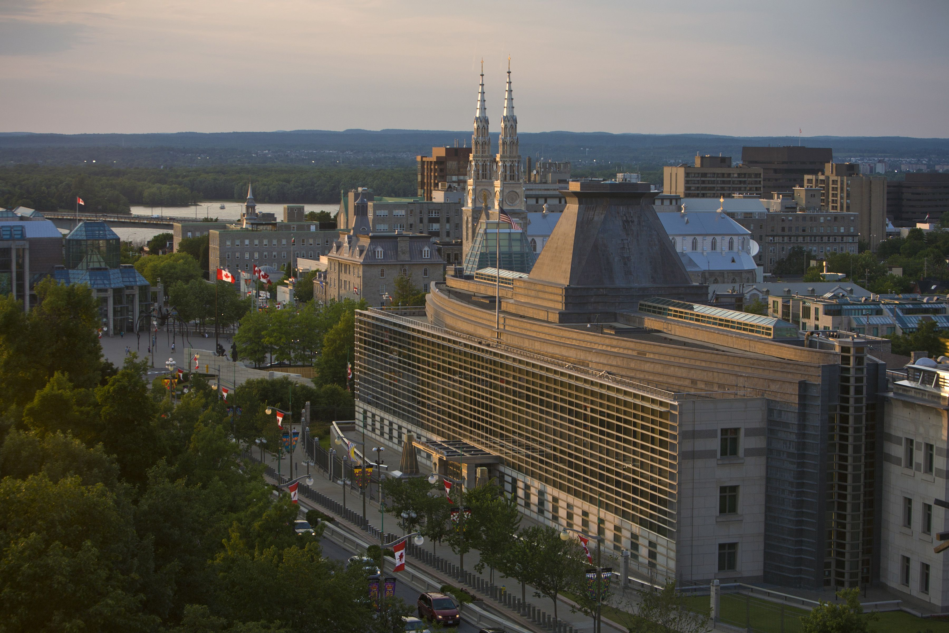 The United States Embassy building is viewed from the Fairmont Chateau Laurier Hotel on June 30, 2012 in Ottawa, Canada