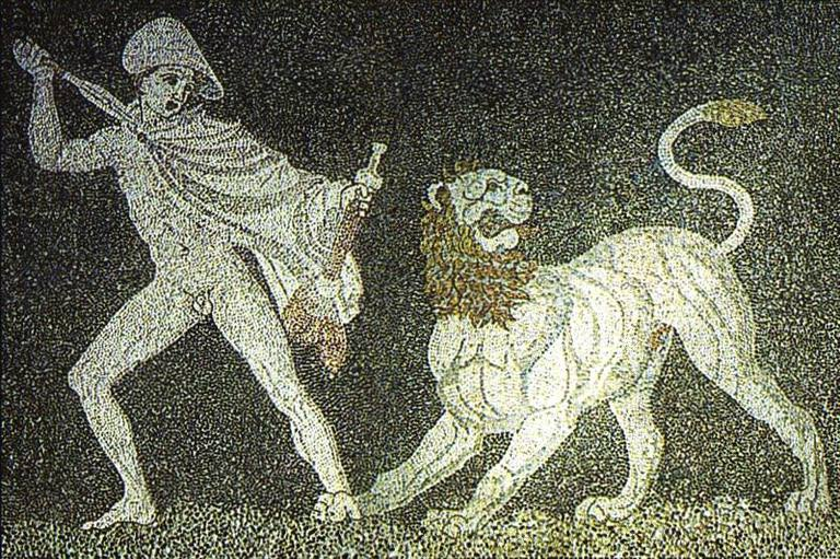 Alexander fighting a lion mosaic