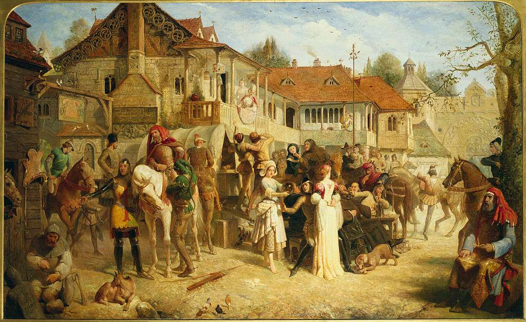 Chaucer's Canterbury Pilgrims, Tabard Inn by Edward Henry Corbould