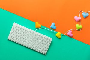 Keyboard with hearts