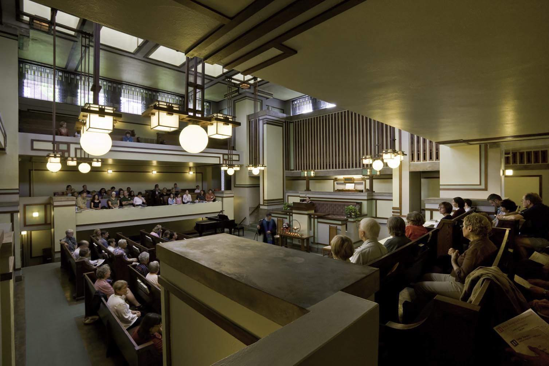 Unity Temple Interior by Frank Lloyd Wright