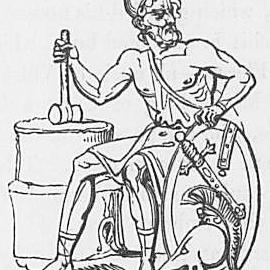 Ein Bild des Gottes Vulcan oder Hephaistos aus Keightleys Mythologie, 1852.