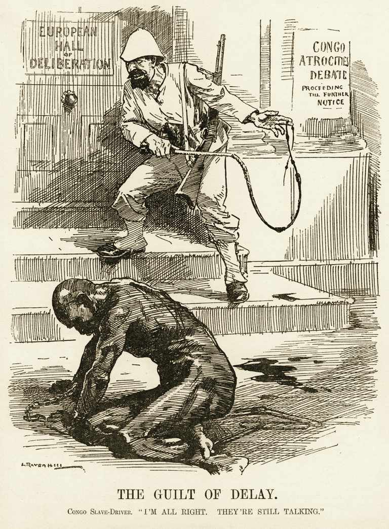 Illustration of man whipping African worker