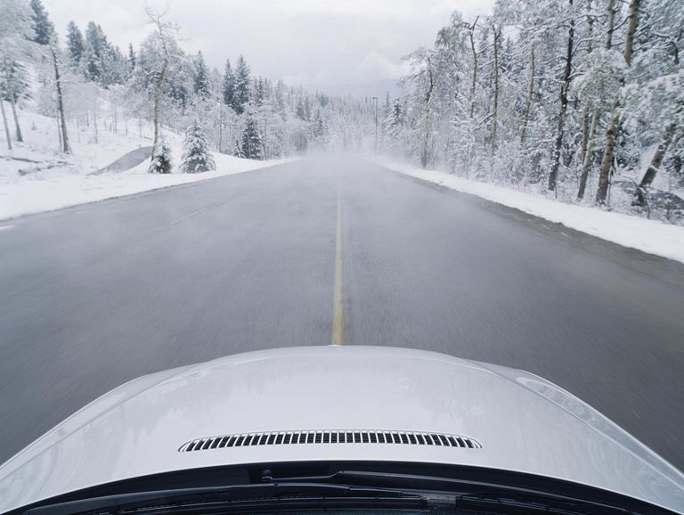 Automobile on Winter Road