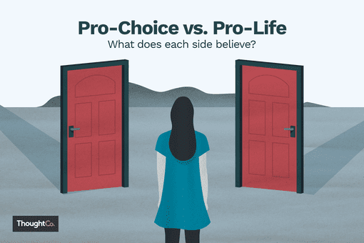 "Illustration depicting a woman looking at two doors with the heading, ""Pro-Choice vs. Pro-Life: What does each side believe?"""