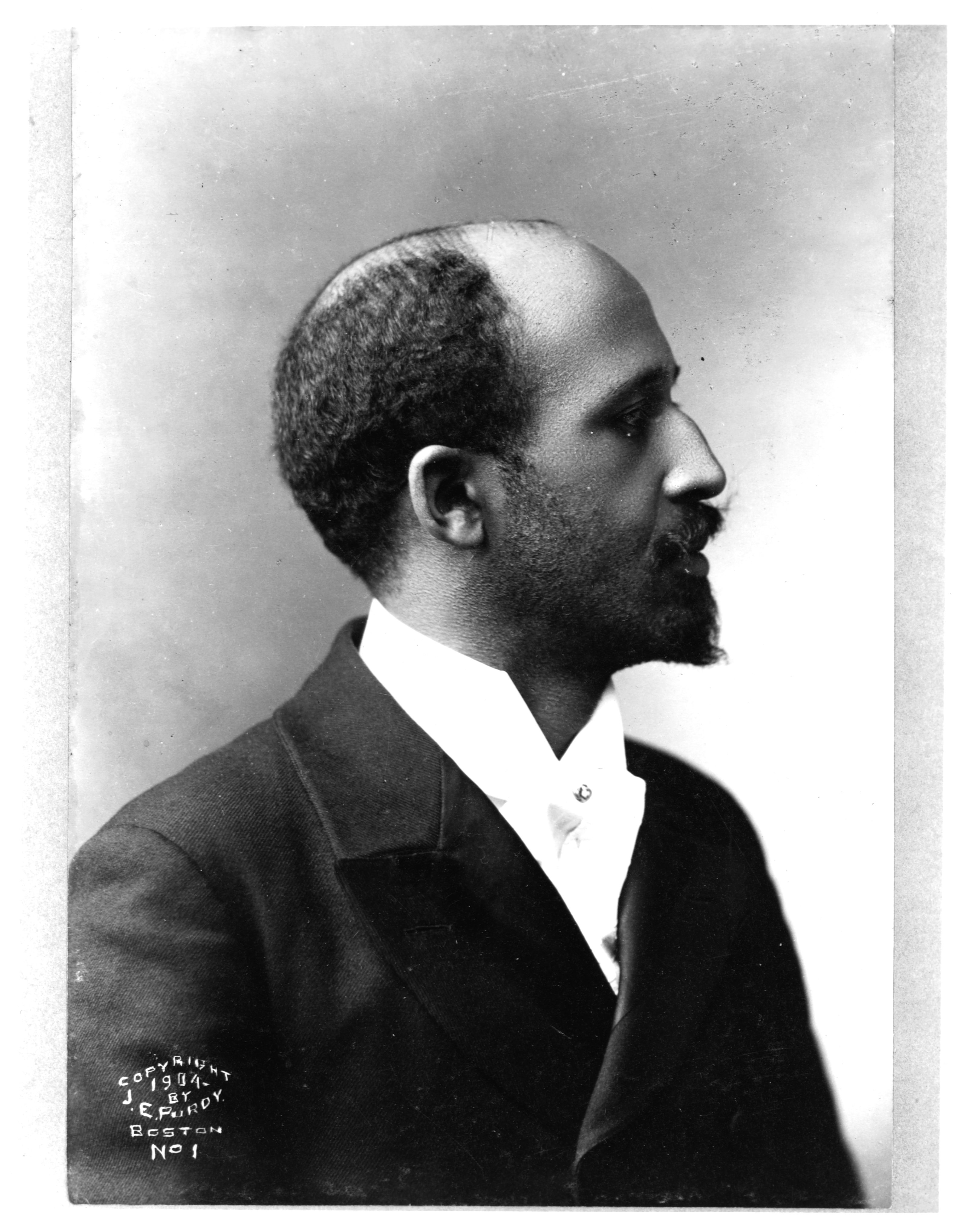 Black and white photograph of W.E.B. Du Bois in profile.