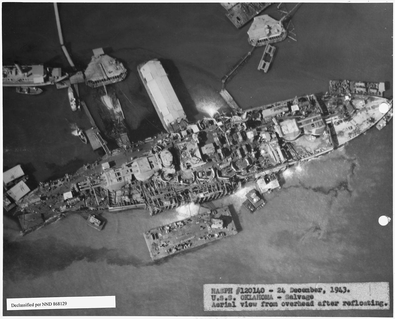 U.S.S. Oklahoma salvage, aerial view from overhead after refloating.