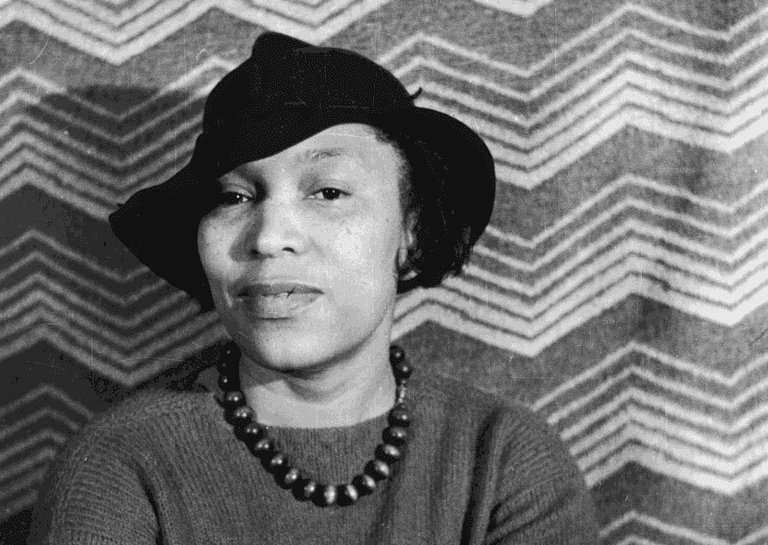 black and white portrait of Zora Neale Hurston