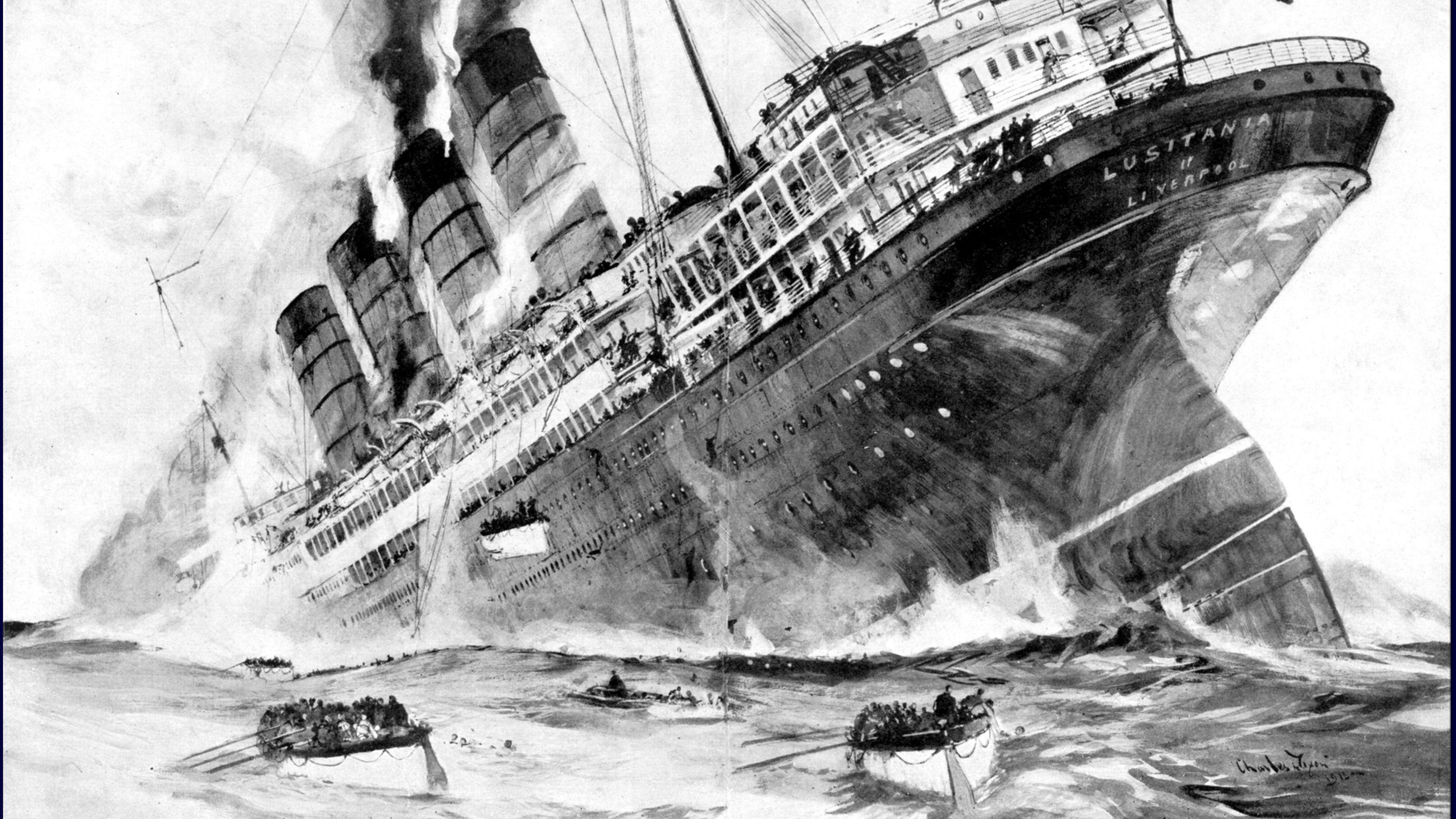 RMS Lusitania PHOTO Ship Sunk by German Submarine World War I