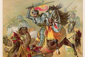 Full color drawing depicting Spanish conquistador Hernando Cortez, circa 1500.