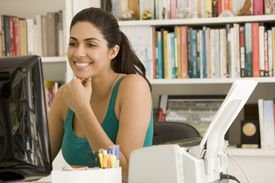 Picture of a woman using a computer
