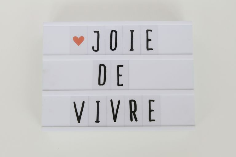 'Joie de Vivre' message in light box on white table
