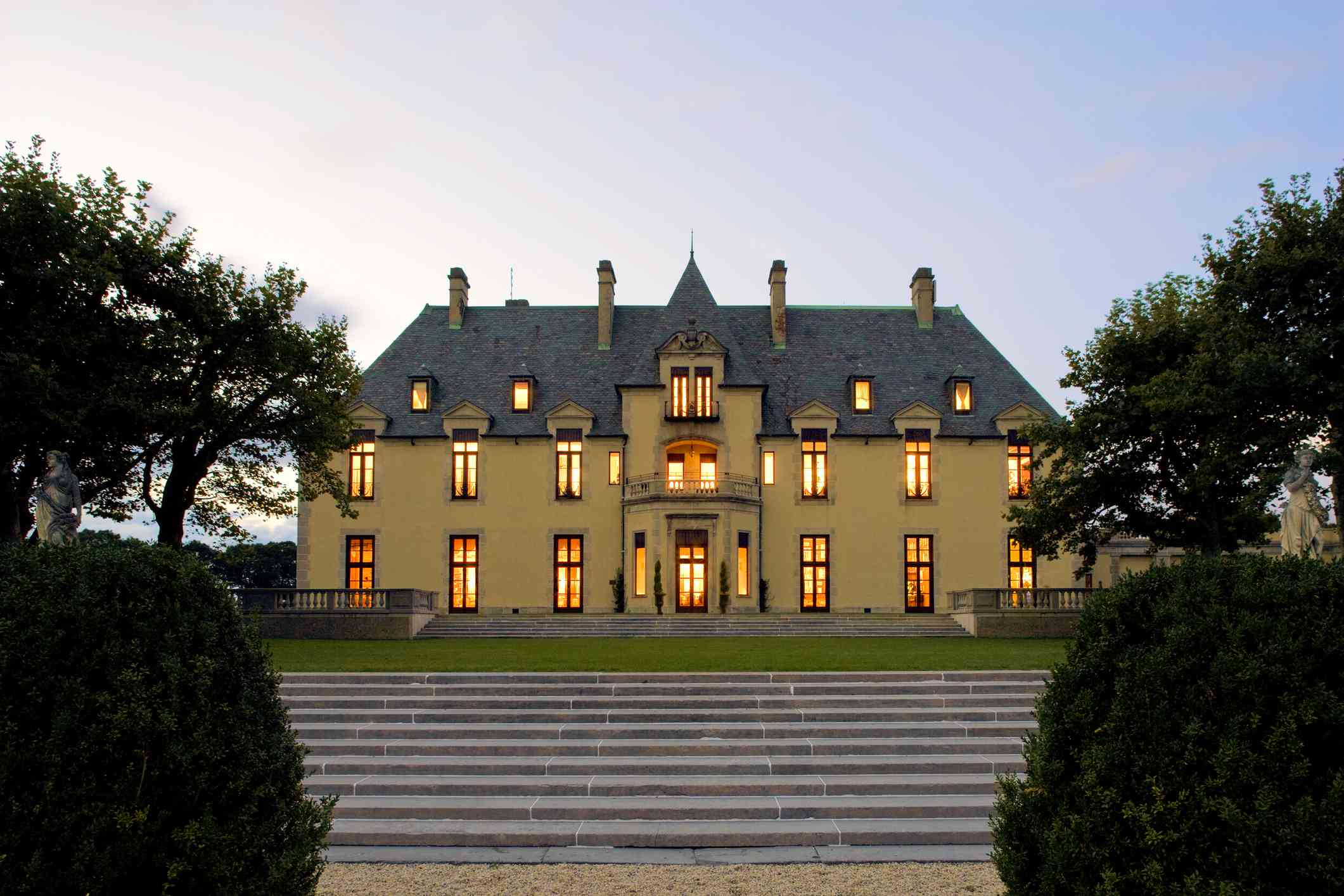 The evening view of chateau-like early 20th century estate Oheka Castle.