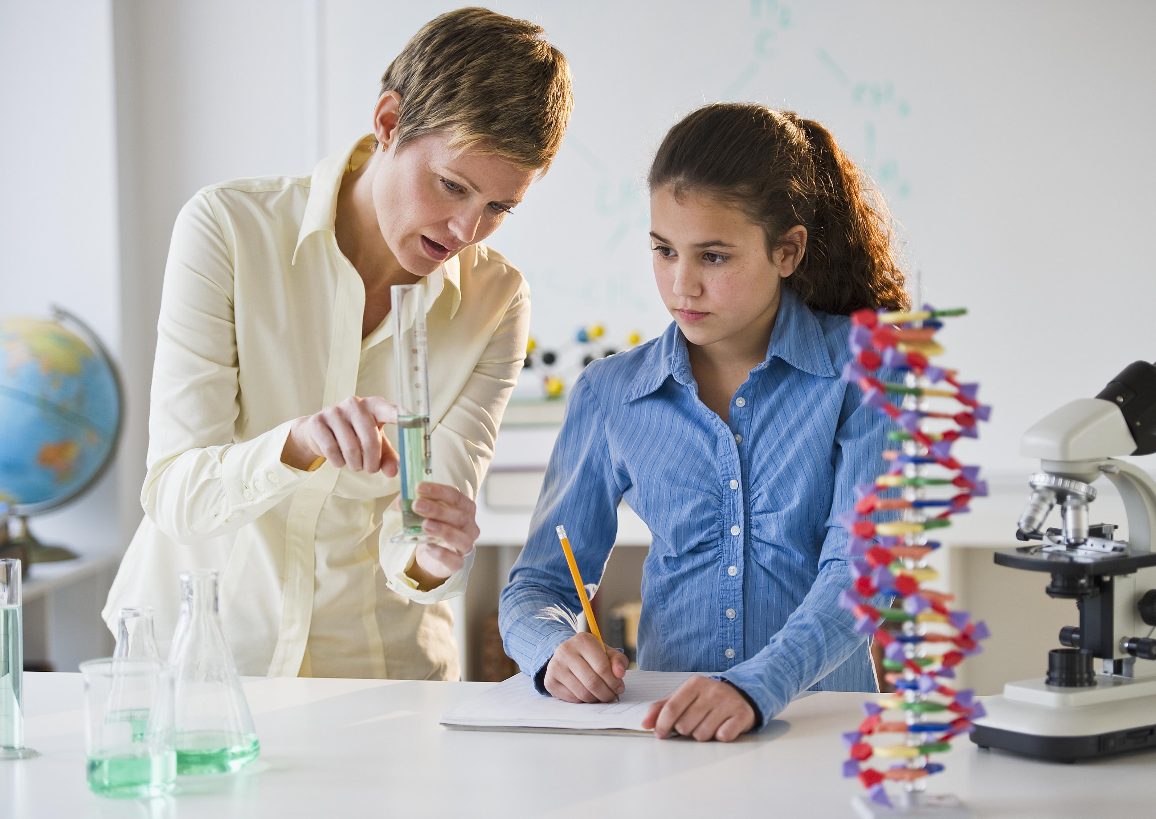 Viele Studenten mit Chemie-Abschluss unterrichten an einem College, einer High School oder einer Grundschule.