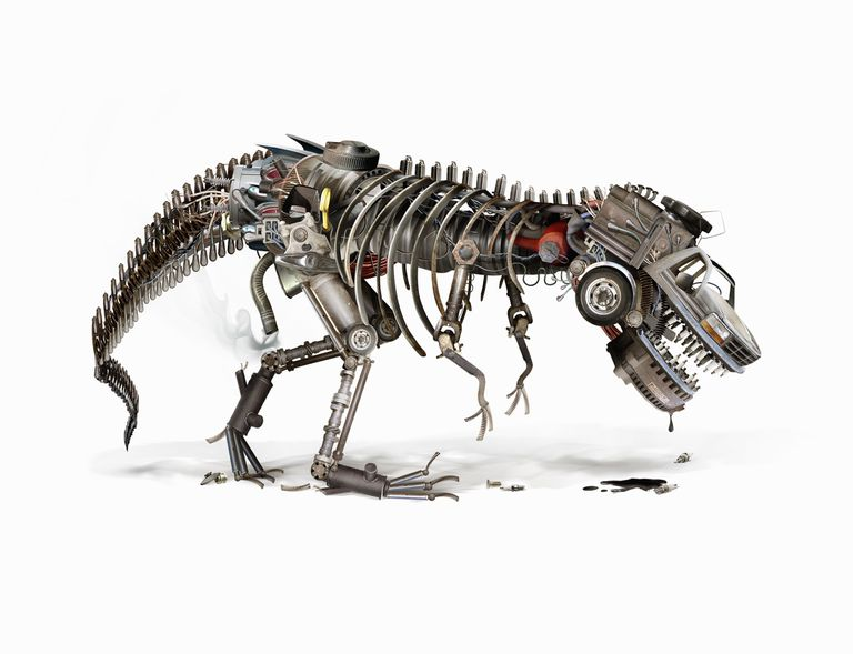 A robotic dinosaur skeleton made of car parts and drooling oil