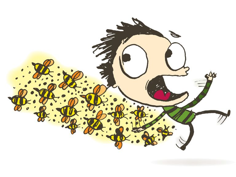 Man chased by bees: Illustration