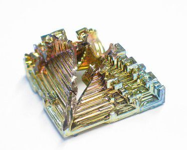 Bismuth is a crystalline white metal, with a pink tinge.