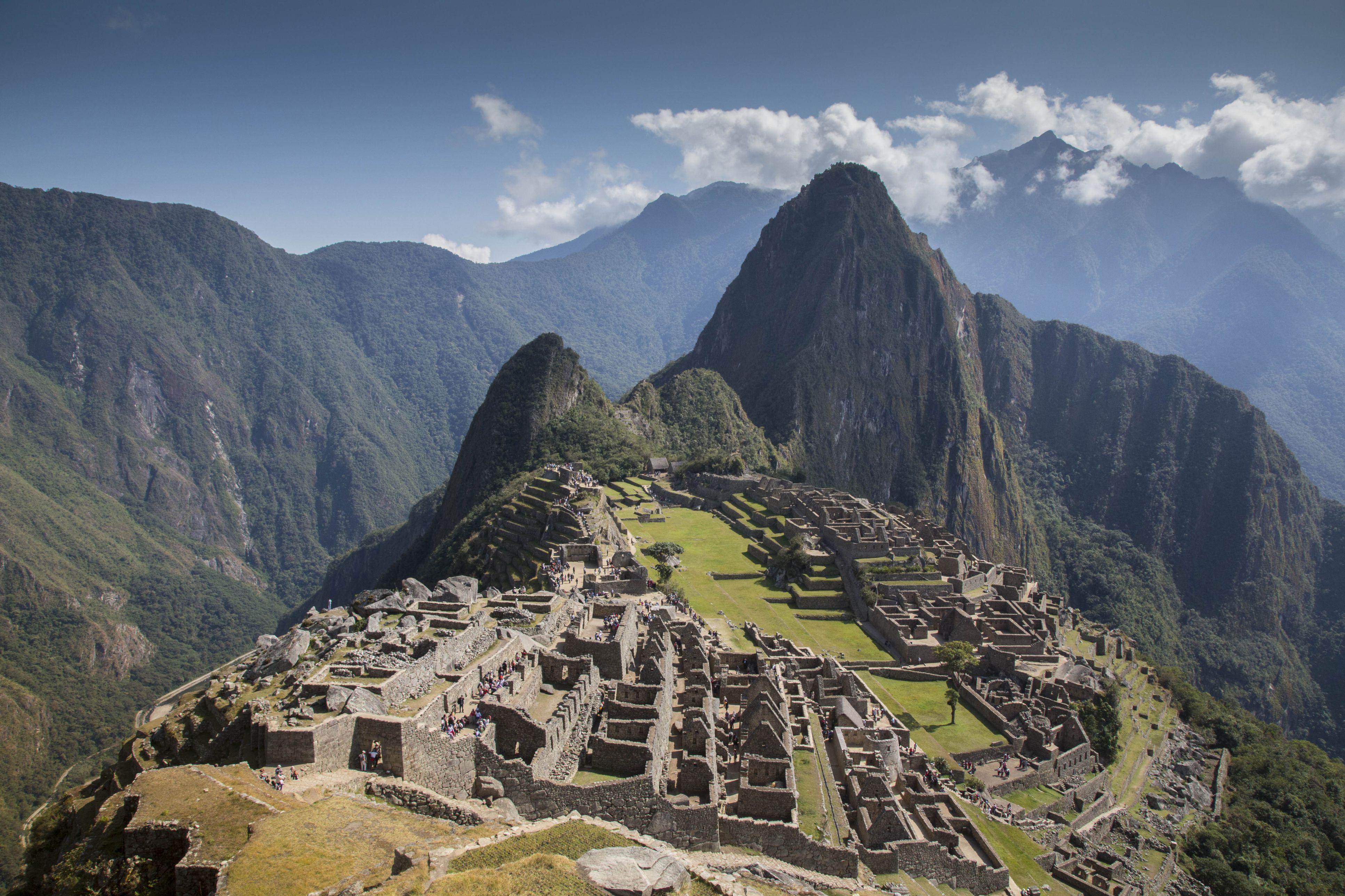 Machu Picchu, 15th-century Inca site at 2,430 metres on mountain ridge above Peru Urubamba Valley