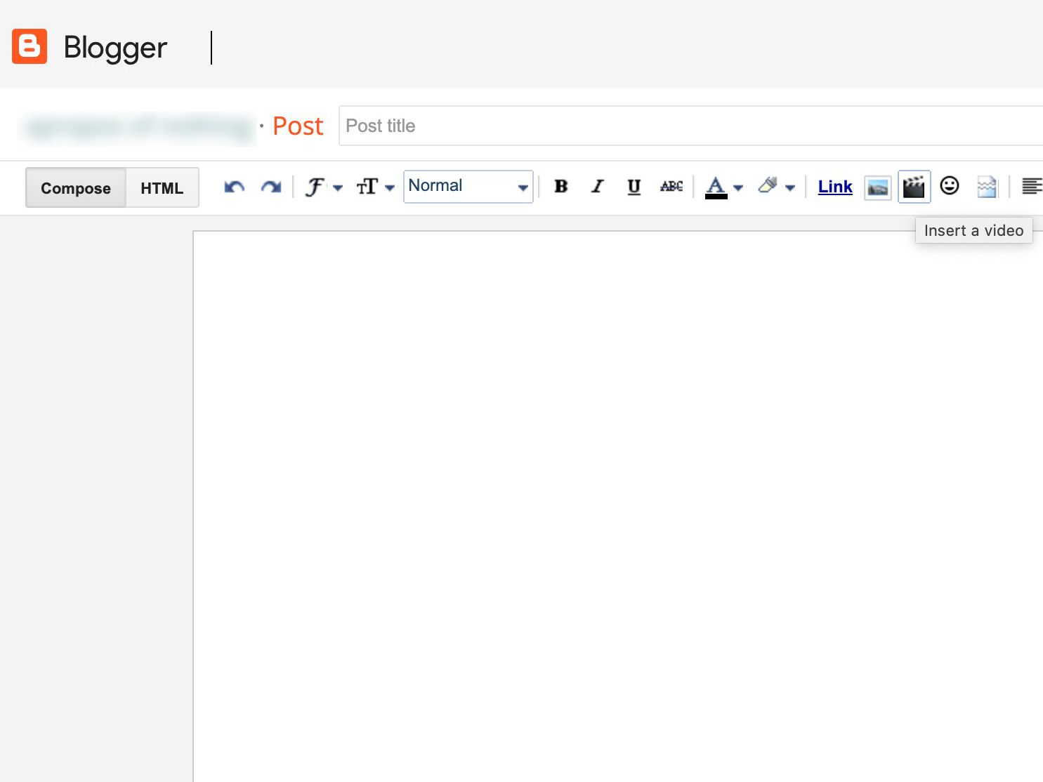 Blogger Compose window with