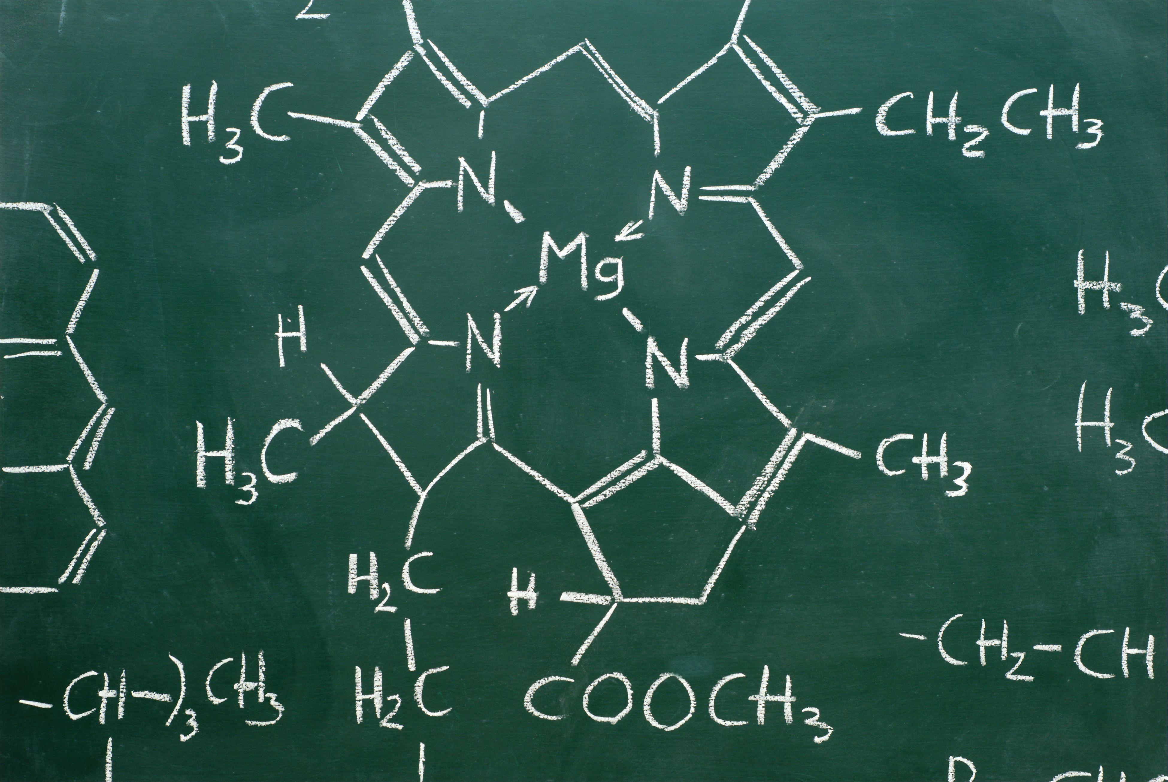 El magnesio está en el corazón de una molécula de clorofila.