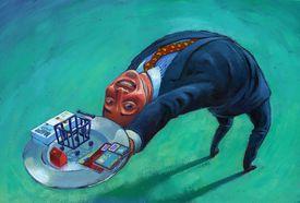 A man bending over backwards with money paraphernalia