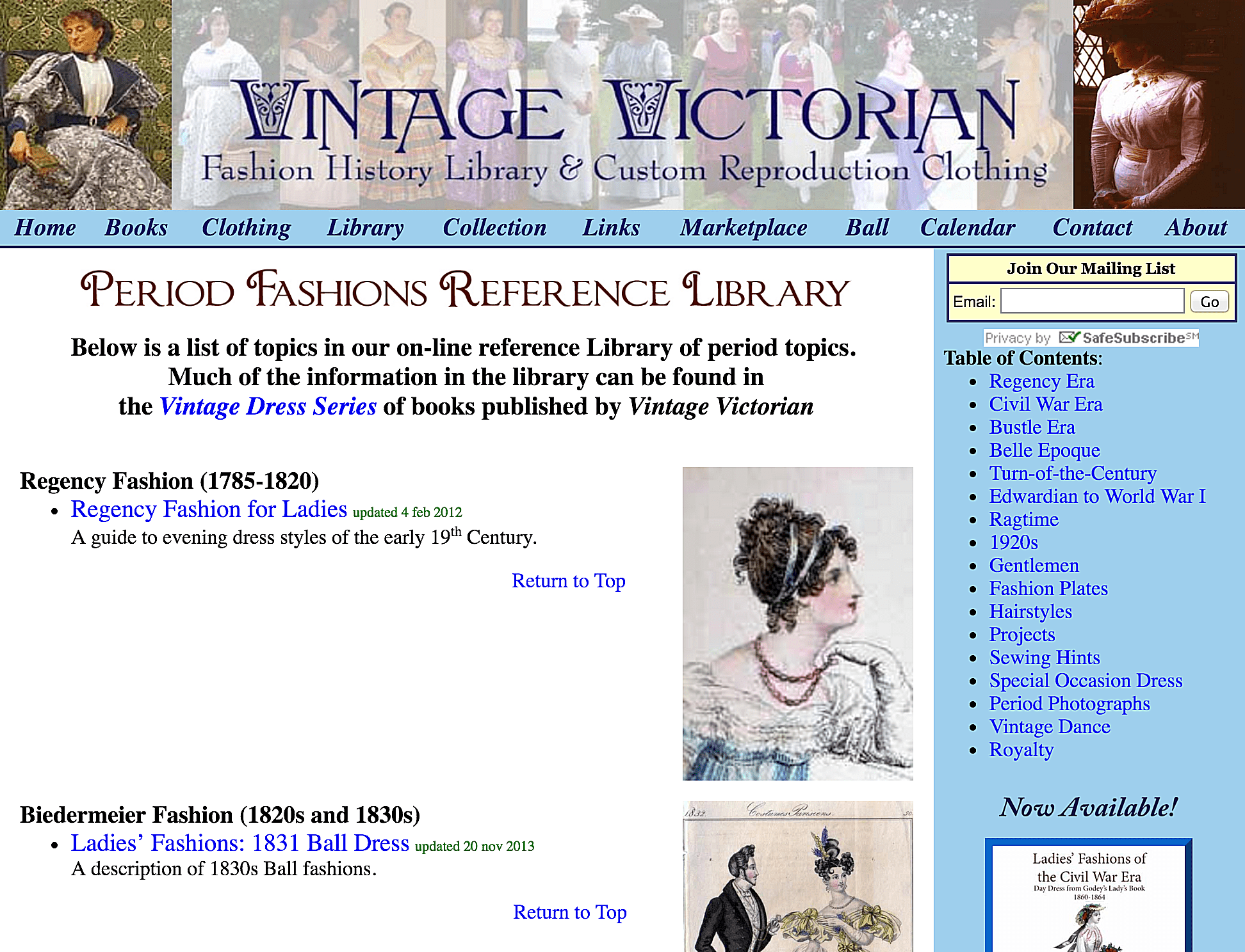 The Fashion History Library from Vintage Victorian covers all types of dress, from underclothes to hats.