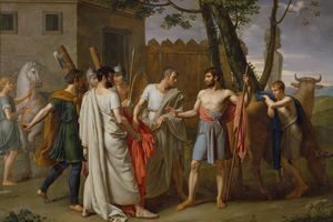 Painting depicting life in ancient Rome with men carrying weapons.