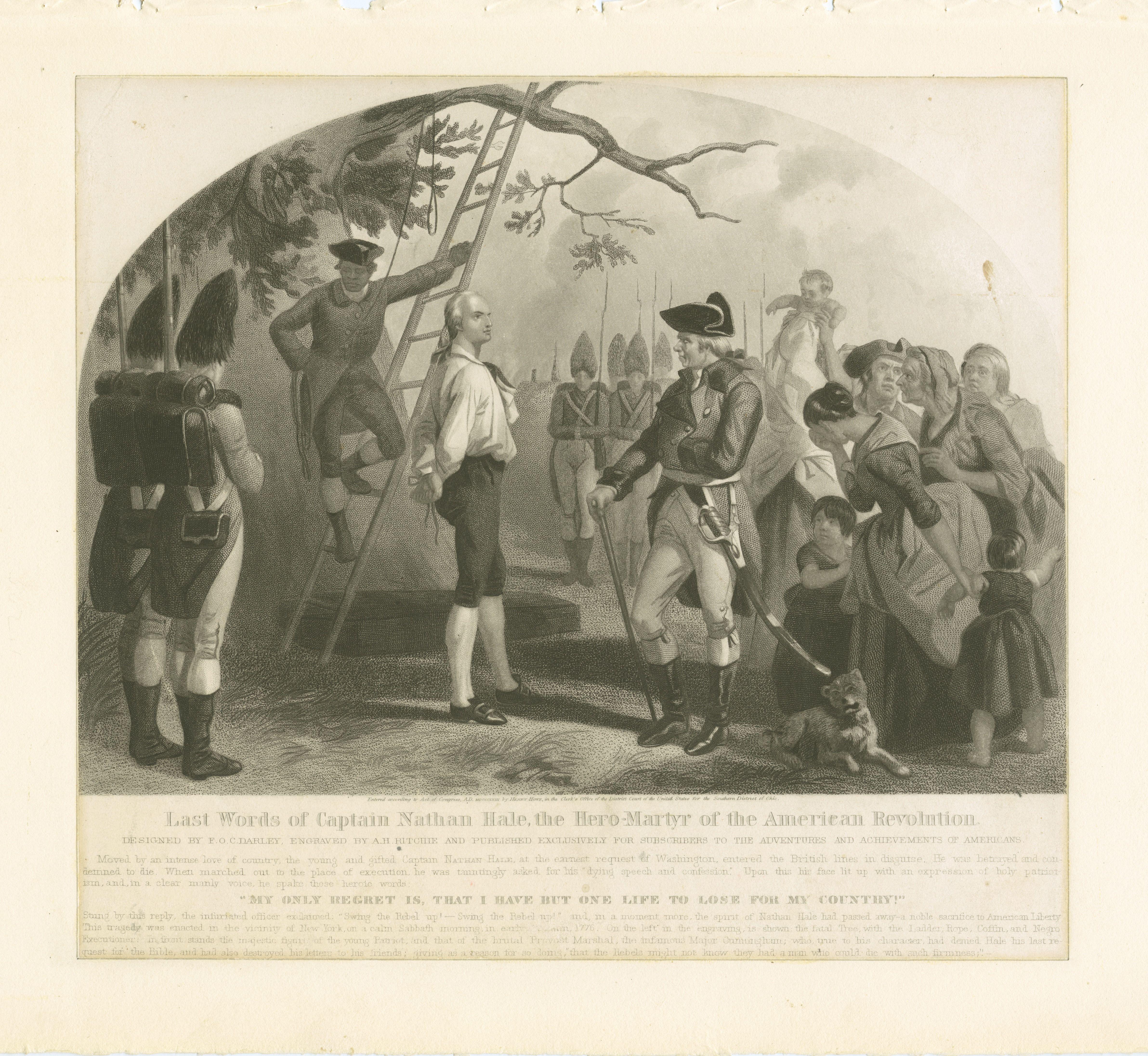 Printed illustration depicting Nathan Hale's final speech.