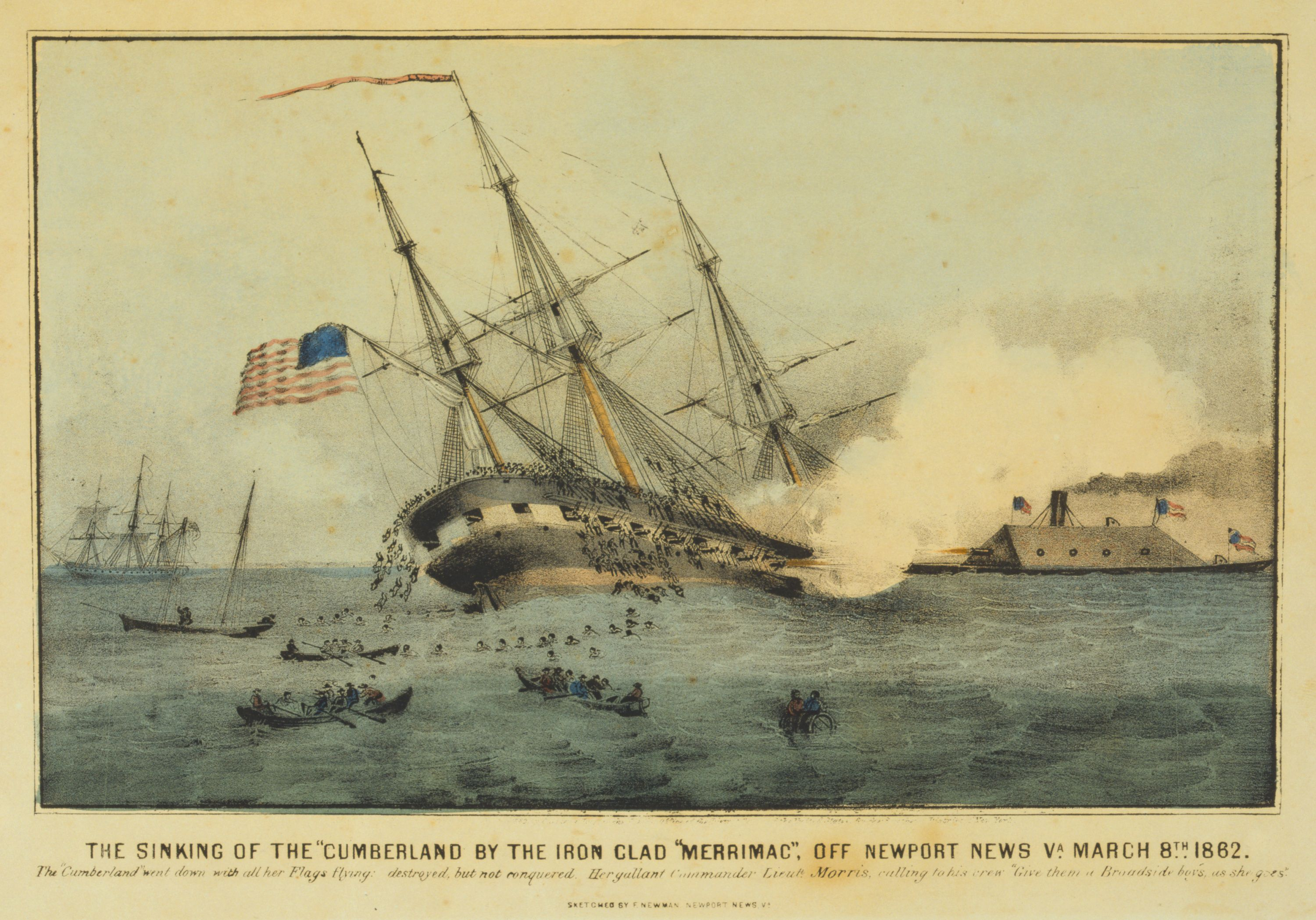 a lithograph depicting the devastating attack on the uss cumberland by the  css virginia