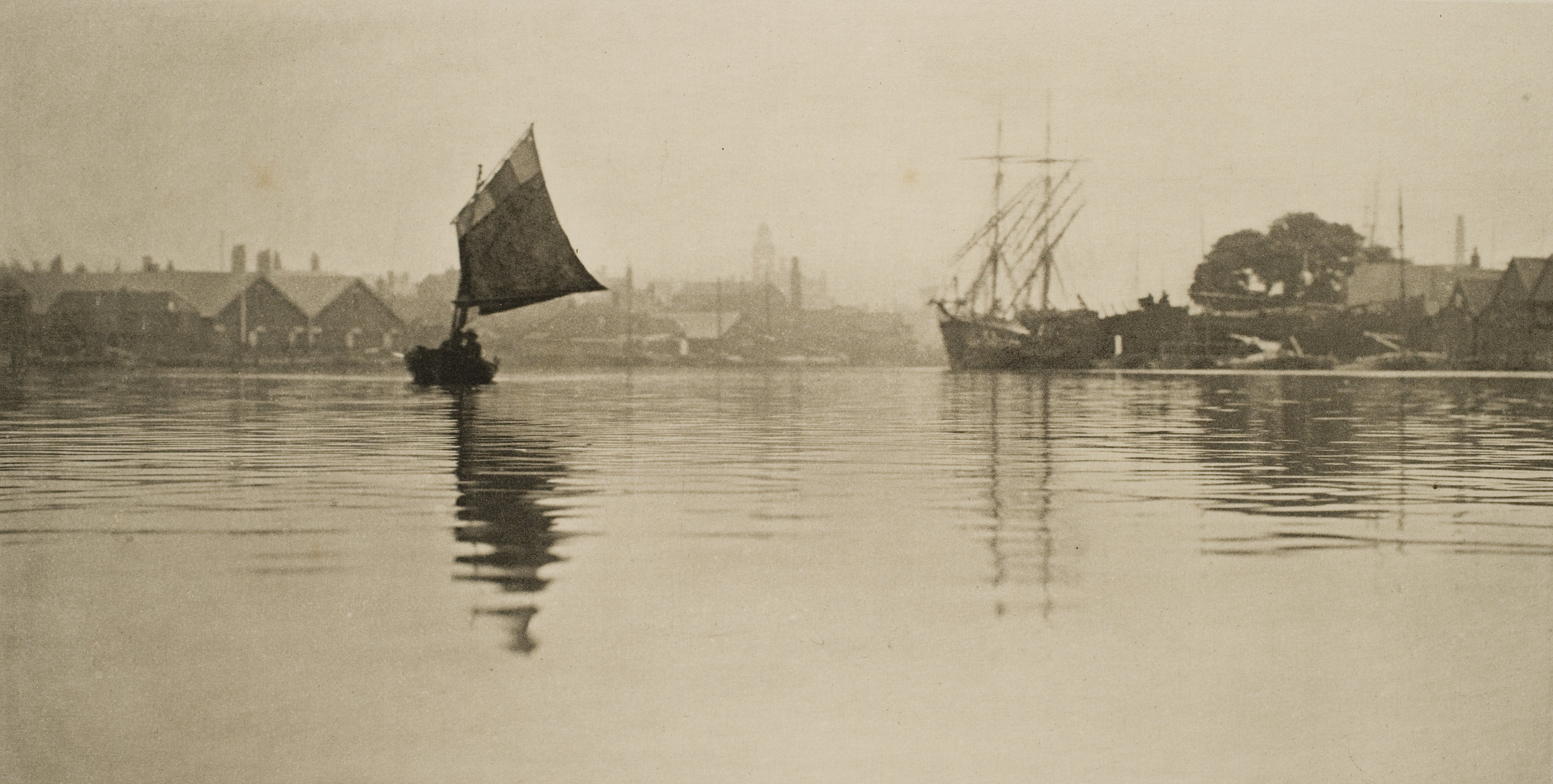 Ships on the flooded Yellow River in China, 1887.