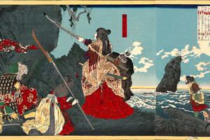 Illustration of Empress Jingu leading the invasion of Korea holding sword