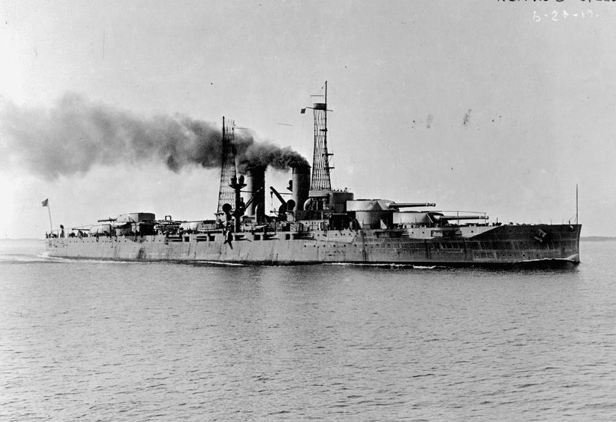 Battleship USS Texas (BB-35) at sea.
