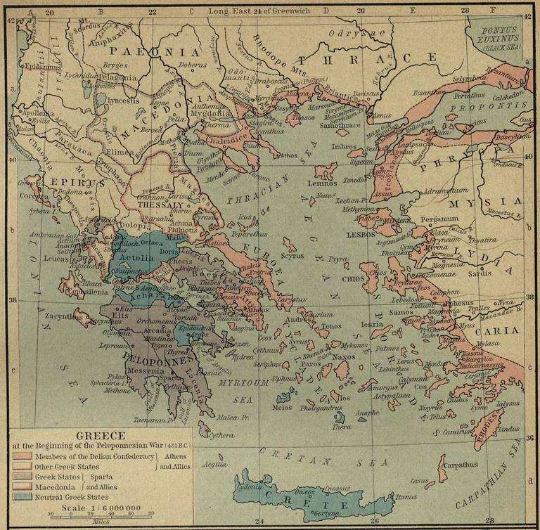 Greece in 431 B.C. at the start of the Peloponnesian War