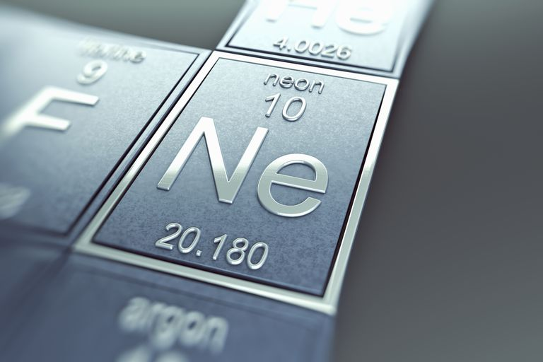 Neon is an element name that can be written using element symbols Ne for neon, O for oxygen, and N for nitrogen.
