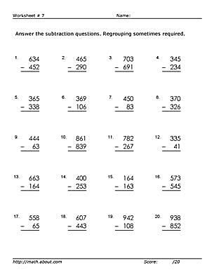 3-Digit Subtraction Worksheets (Some Regrouping)