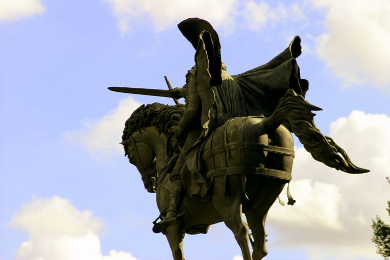 The statue of El Cid in Burgos. Historic city of Castile and León (Spain)