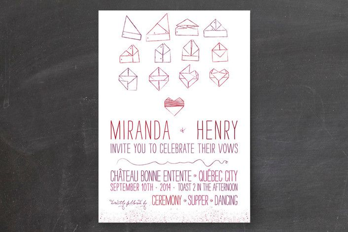 School themed wedding invitations - folded notes wedding invitations