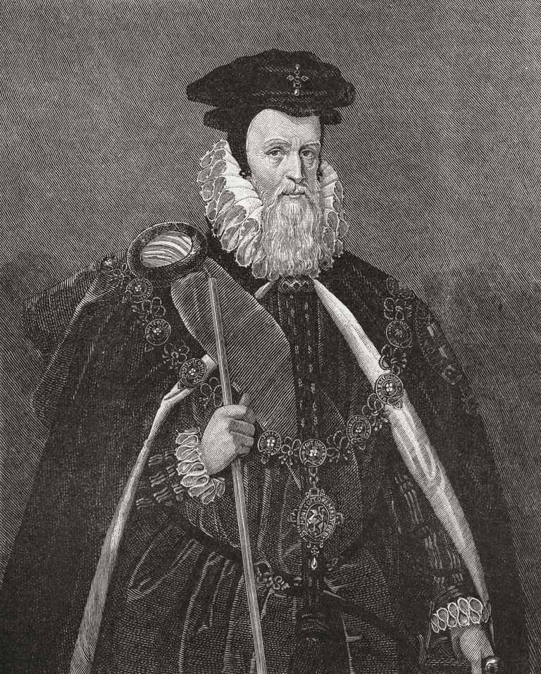 William Cecil, 1st Baron Burghley, also spelt Burleigh, 1520 –1598. English statesman, chief advisor of Queen Elizabeth I, twice Secretary of State and Lord High Treasurer. From The Century Edition of Cassell's History of England, published 1901