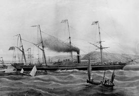 Lithograph of the SS Great Western