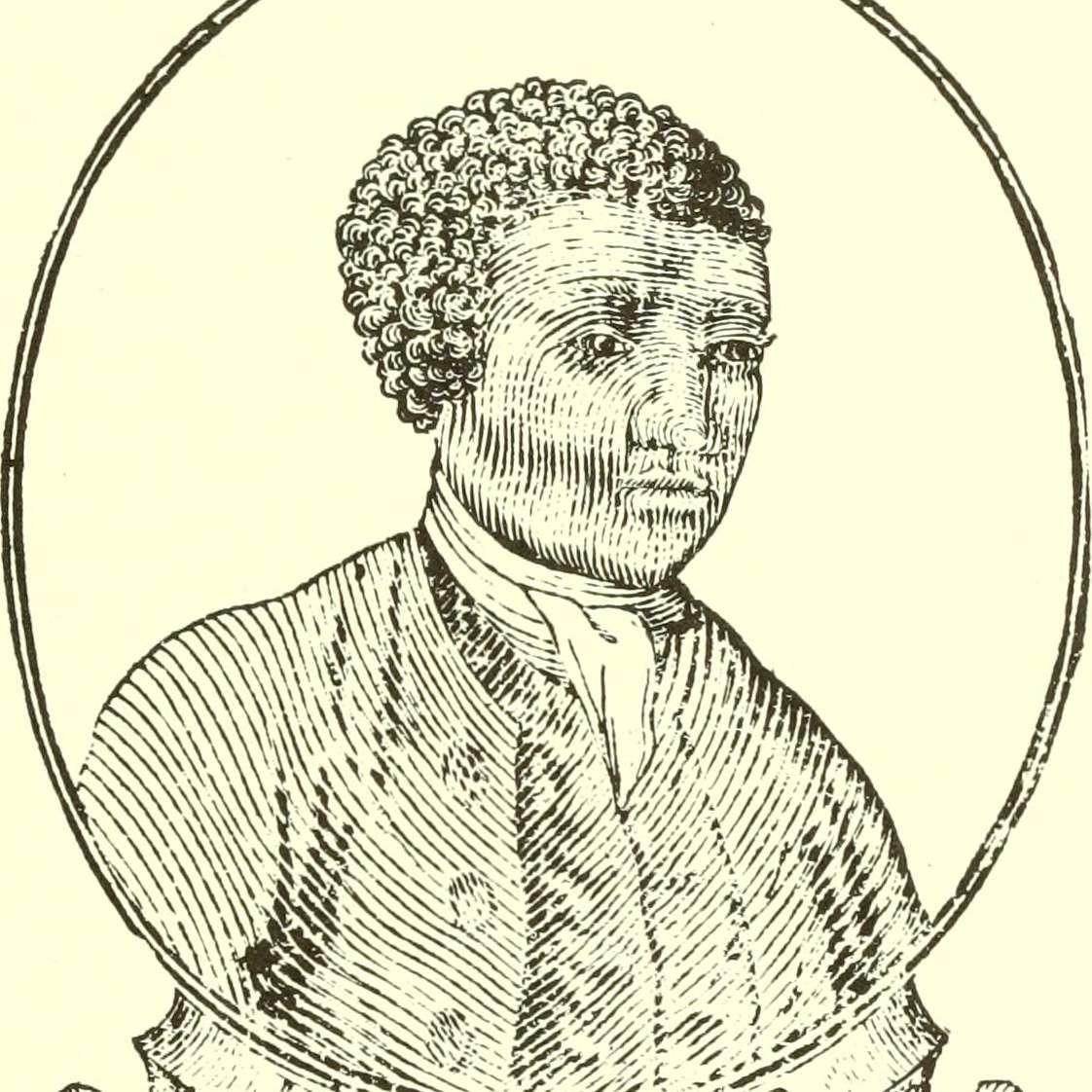 woodcut portrait of Benjamin Banneker from almanac title page