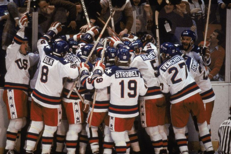 LAKE PLACID, NY - FEB 22: Team USA celebrates their 4-3 victory over the Soviet Union in the semi-final Men's Ice Hockey event at the Winter Olympic Games in Lake Placid, New York on February 22, 1980. The game was dubbed 'the Miracle on Ice'. The USA went on to win the gold medal by defeating Finland 4-2 in the gold medal game.