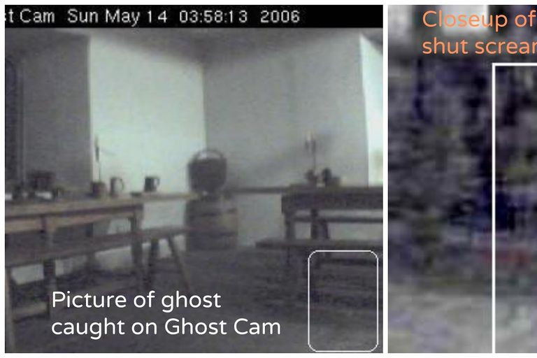 Picture of a ghost caught on ghost cam