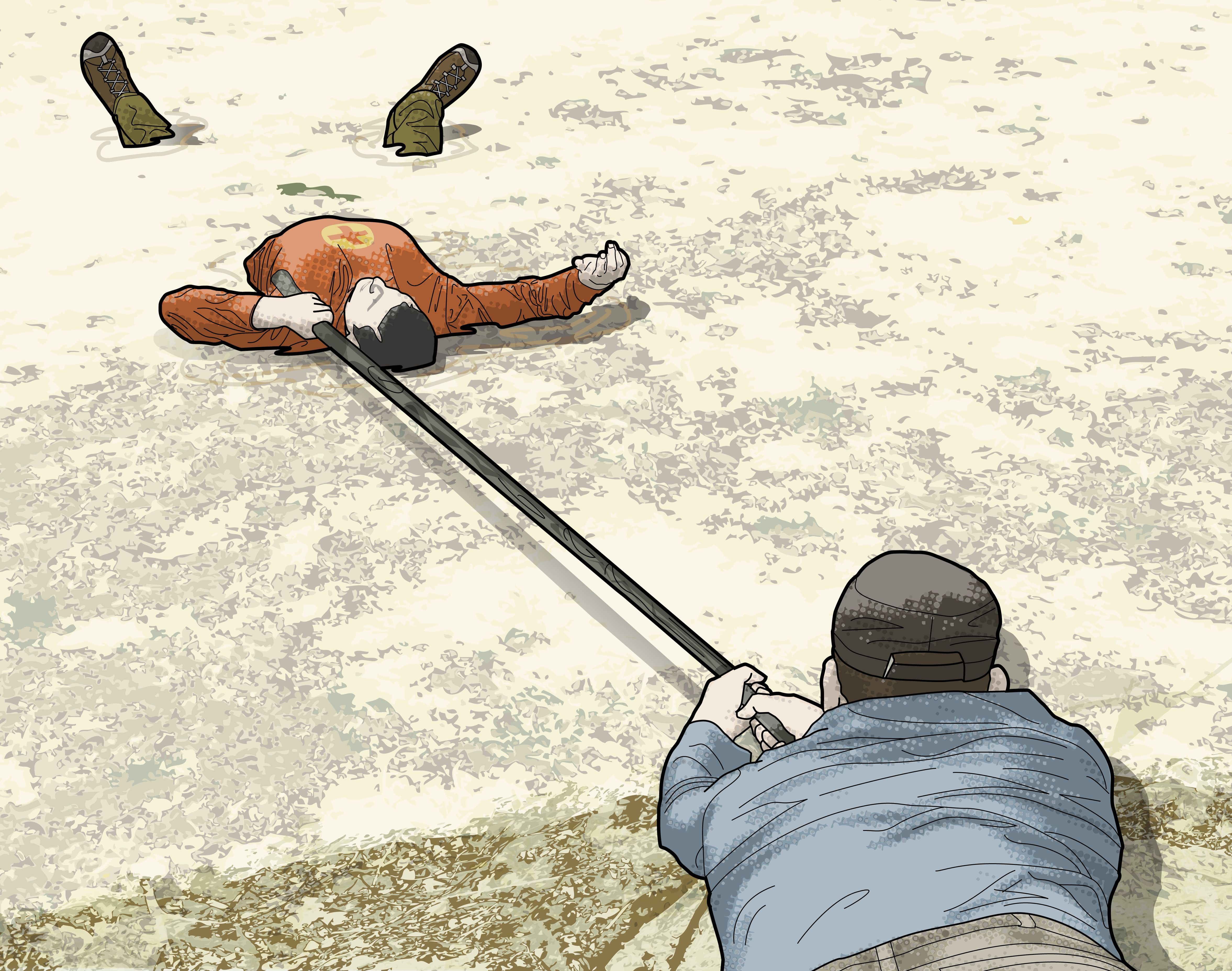 Escape from quicksand by leaning onto your back to float. A rescuer can assist by offering a stick to slowly pull you to safety.