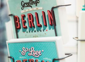 Close up of a postcard stand in Berlin, Germany.
