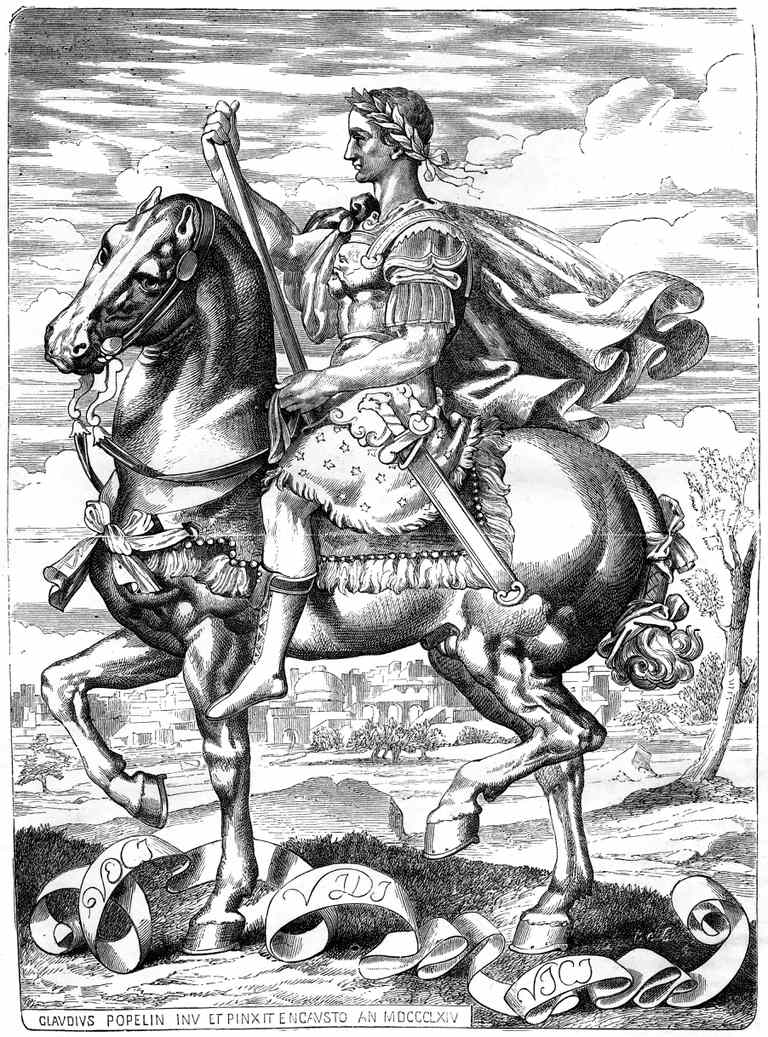 Illustration of Julius Caesaron horse.